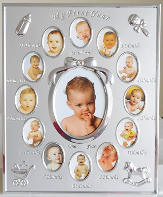 benerini Silver Plated  My First Year  Photo Frame Babys First Birthday Christening Gift Holds 13 photos