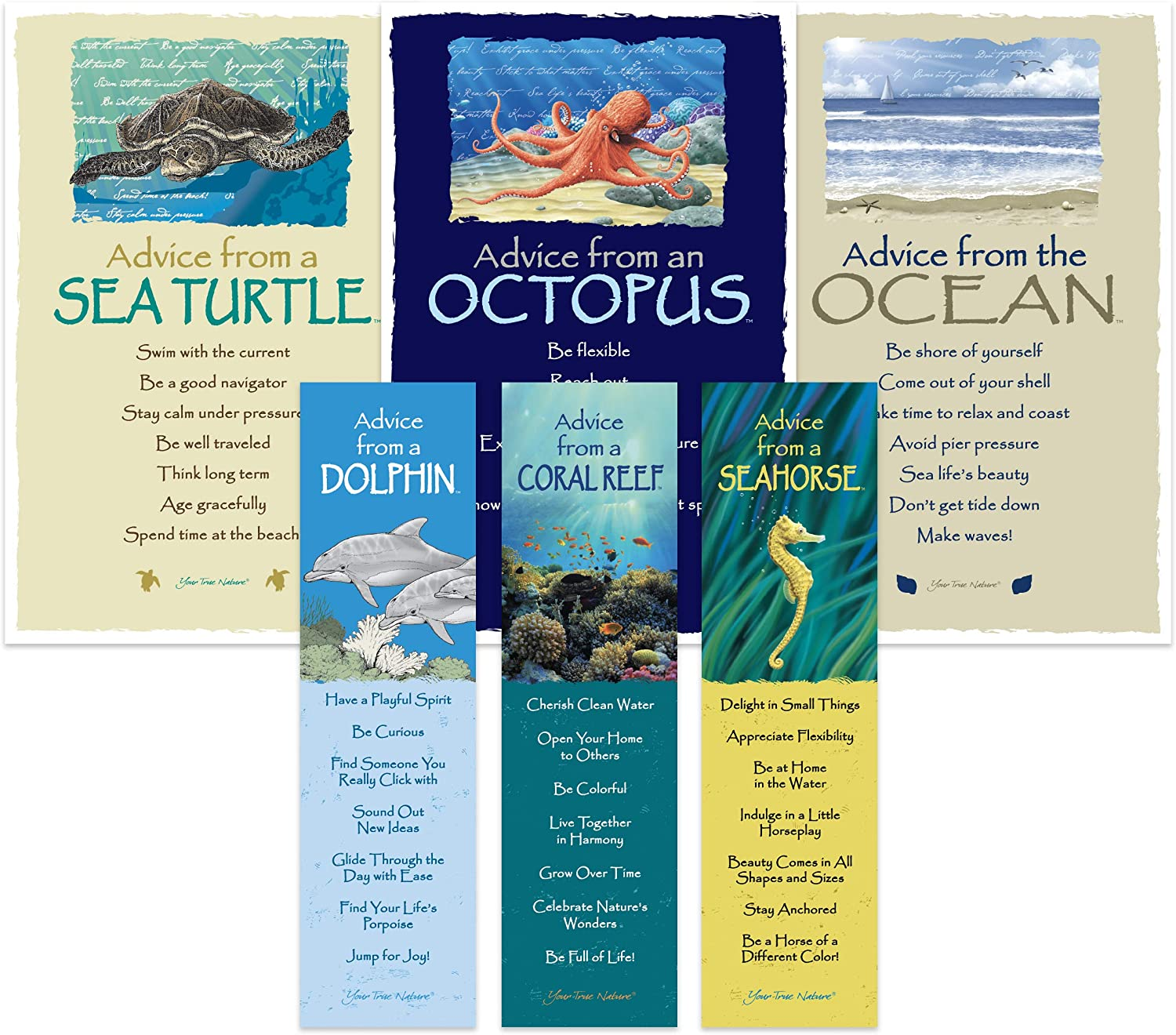 Advice from Nature Bookmark & Art Card Coastal Set- 3 Bookmarks: Coral Reef, Sea Horse, Dolphin - 3 Art Cards: Sea Turtle, Ocean, Octopus by Your True Nature