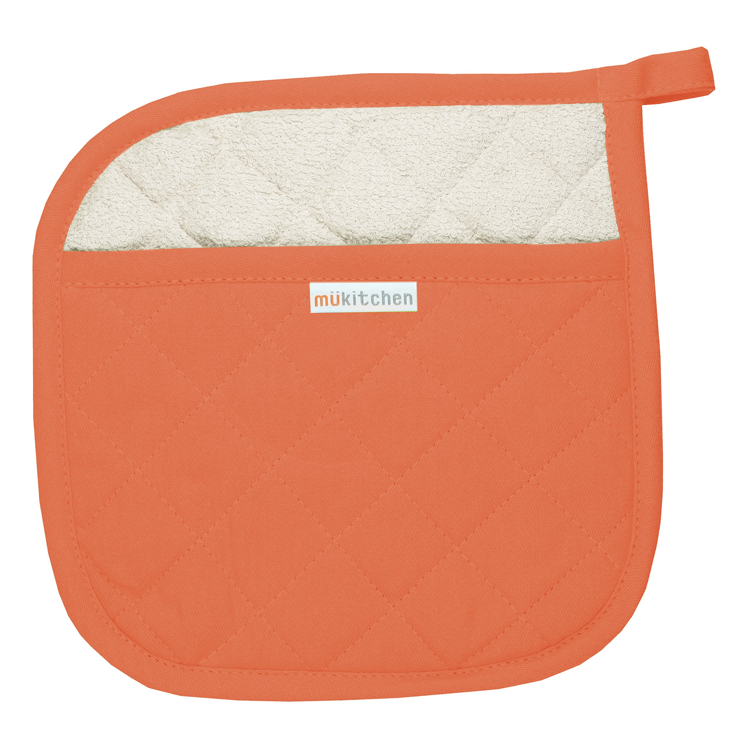 MUkitchen 100% Quilted Cotton Pot Holder, Sea Coral