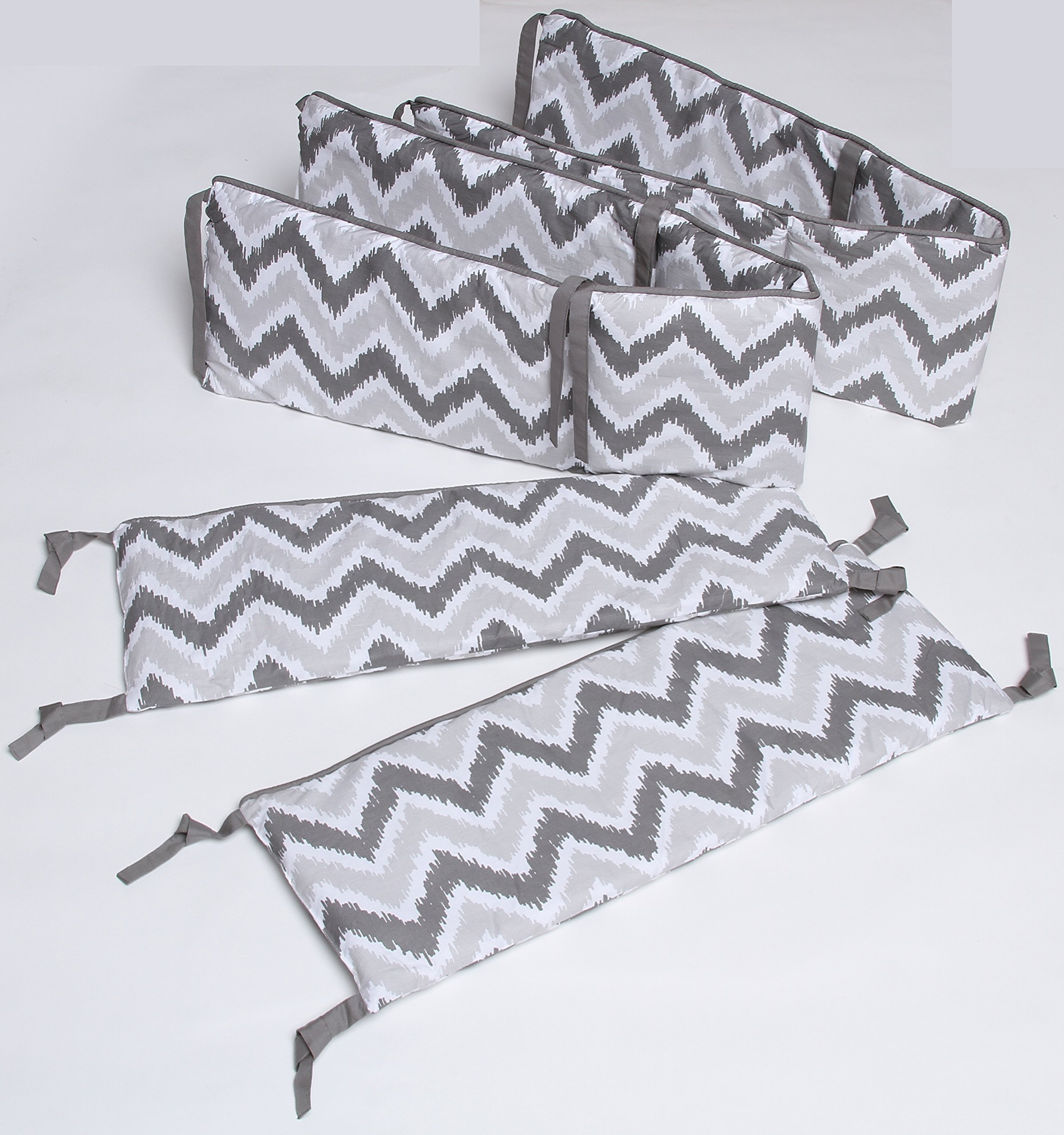 Bacati Ikat Chevron 10 Piece Crib Set with Bumper Pad, Coral/Grey by Bacati (Image #2)
