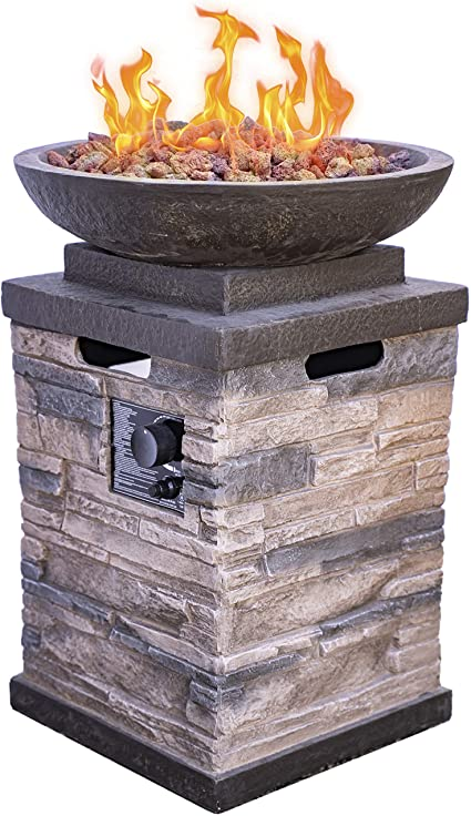 Amazon Com Bond Manufacturing 63172 Newcastle Propane Firebowl Column Realistic Look Firepit Heater Lava Rock 40 000 Btu Outdoor Gas Fire Pit 20 Lb Pack Of 1 Natural Stone Gas Fire Pit Garden Outdoor