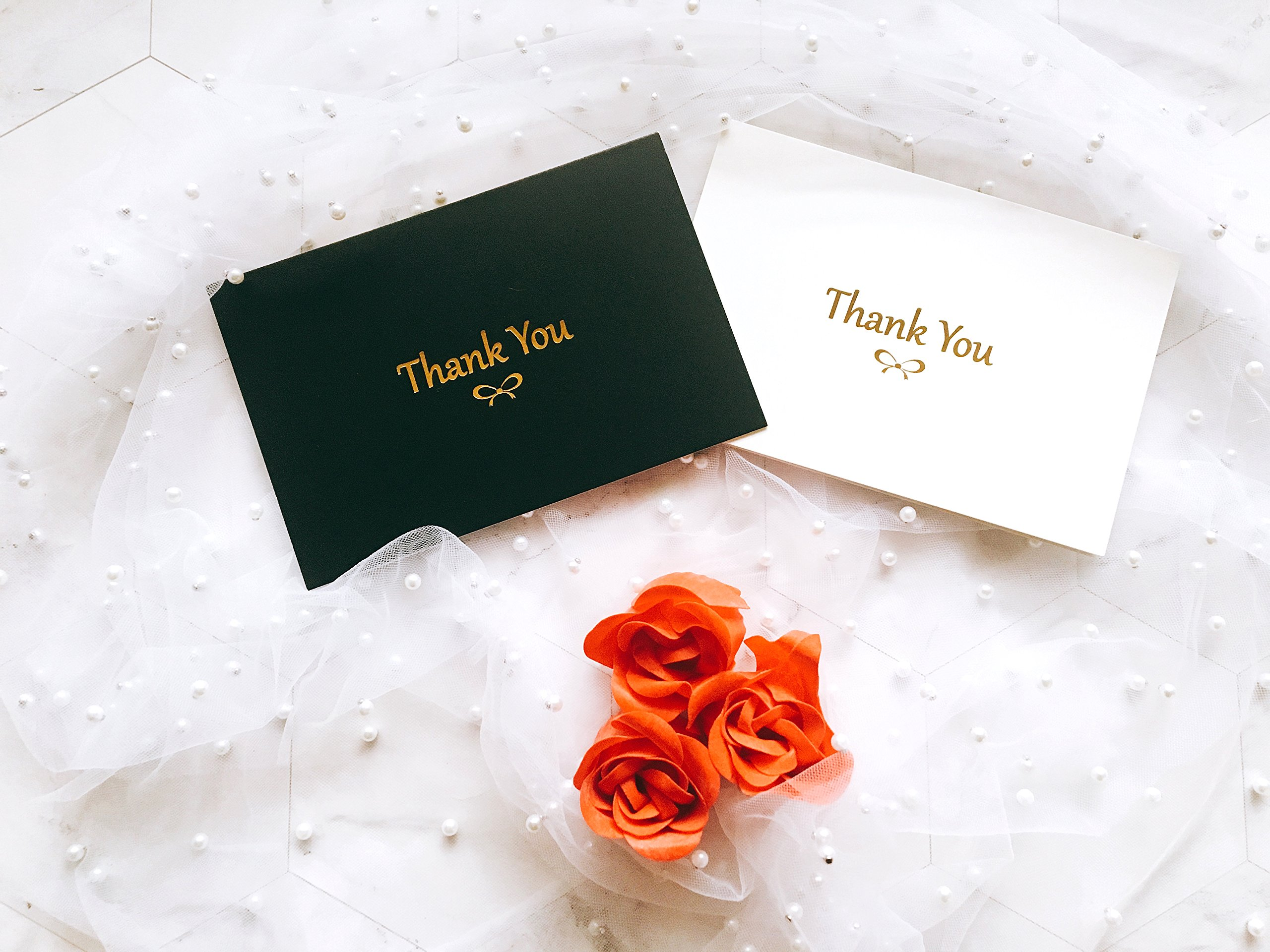 100 Thank You Cards With Gold Foil Embossed Designs | 4 x 6 Inches, Bulk Blank Note Cards With Envelopes And Gold Stickers | Perfect For Wedding, Bridal Shower, Baby Shower, and Business (Black White) by Winoo Paper Greetings (Image #5)