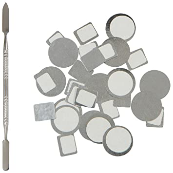 Metal magnetic palette stickers for empty makeup palettes stainless steel depotting spatula 20pcs organizational