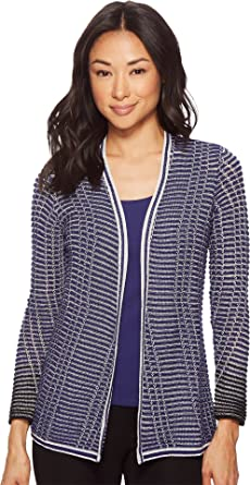 313d24acf79 NIC+ZOE Women s Petite Striped Space Cardy Electric Blue X-Small at ...