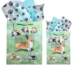 Best Friends Dog Breed sacchetti regalo set di due con carta velina, Welsh Corgi, Small and Medium Ruth Maystead