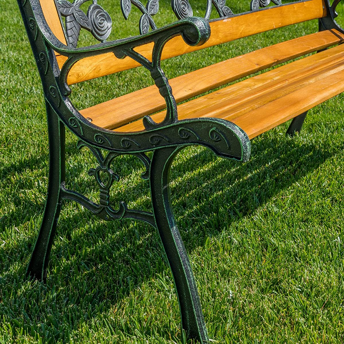 Belleze Rose Resin Back Park Bench Cast Iron Hardwood Outdoor Porch Seat
