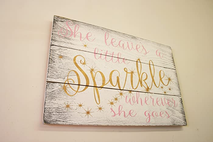 She Leaves A Little Sparkle Wherever She Goes Wood Sign Girls Nursery Wall  Decor