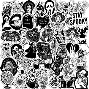 100 pcs Black and White Gothic Retro Skull Sticker Waterproof Vinyl Decals for Laptop,Skateboard,Water Bottles,Bumpe,Luggage,Phone,Cars,Punk Cool Stickers Horror