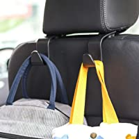Car Seat Headrest Hook 4 Pack Hanger Storage Organizer Uiversal for Handbag Purse Coat fit Universal Vehicle Car Black S…