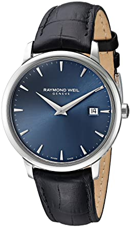b2fdd5998 Image Unavailable. Image not available for. Color: Raymond Weil Toccata  Stainless Steel Swiss-Quartz Watch with Leather-Synthetic ...