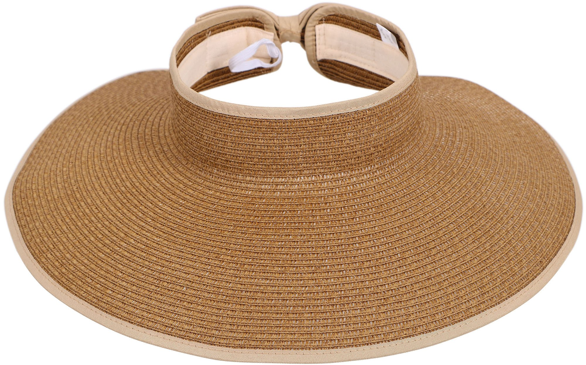 Women Summer Wide Brim Summer Roll Up Foldable Sun Visor Beach Straw Hat