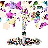 Relaxdays Lanceur de confettis fleur papillons 40 cm canon cotillons fête noël décoration nouvel an portée 6-8 m, coloré
