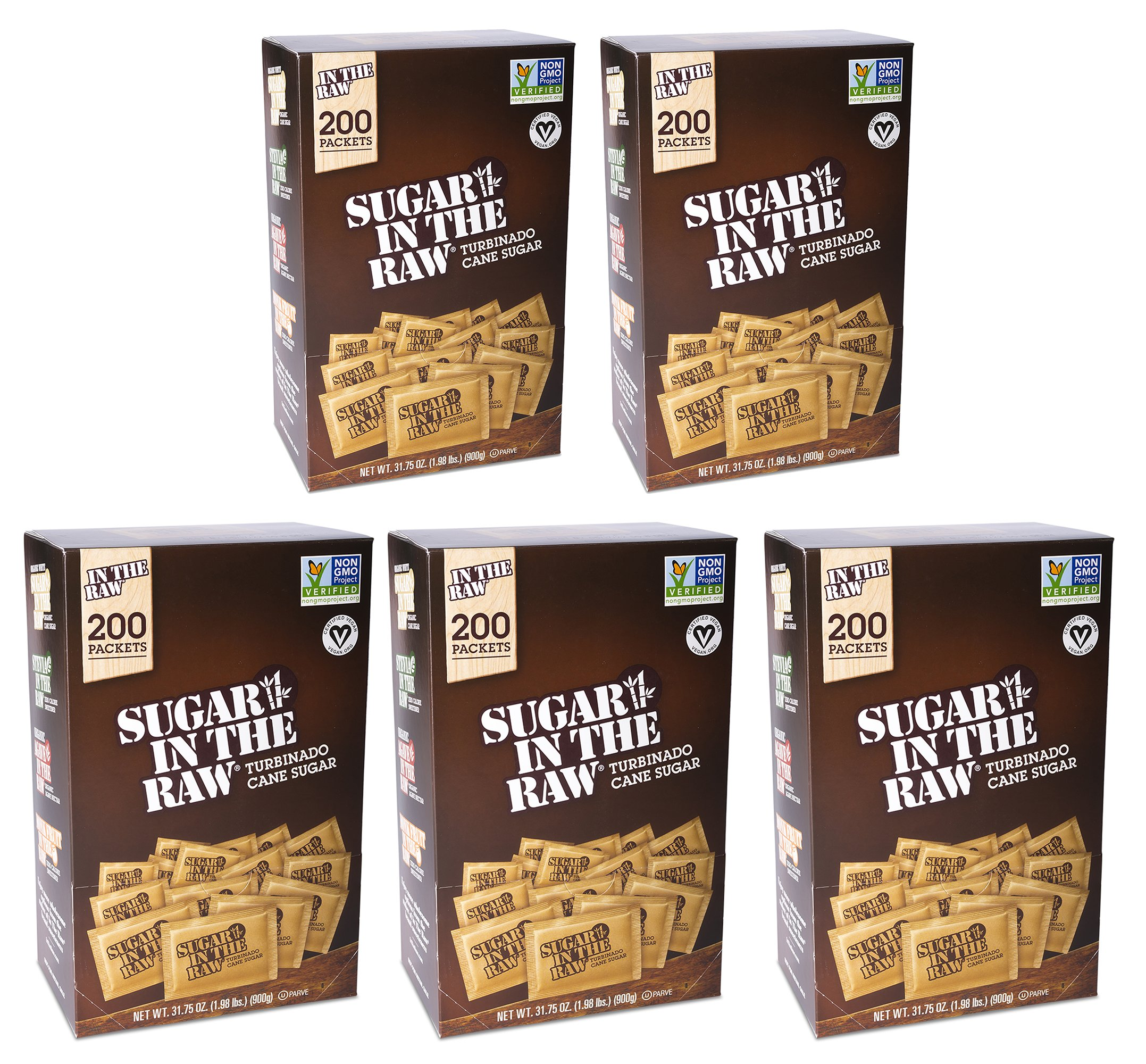 5-Pack Sugar In The Raw Turbinado Cane Sugar, Pack Contains 1000-4.5g packets (5 Pack)