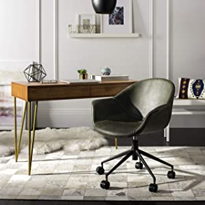 Safavieh Home Ember Green Faux Leather and Black Office Chair