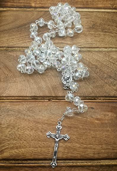 Catholic Rosary White Clear Crystal Beads Necklace with Holy Soil Medal and Metal Cross Communion Rosary 5pxhVp1eQw