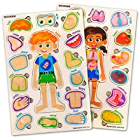 Toddler Puzzles for Kids Ages 2-4-8 by Quokka – 2 Educational Wooden Puzzles for Children 3-5 Years Old – Preschool Game for Learning Human Body Parts Anatomy Skeleton - Gift Toys for Boy and Girl