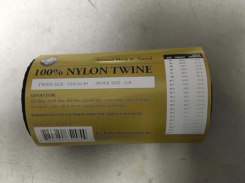 Black Size #48 1//4 lb 6-pack Nylon Twine Tarred Twisted