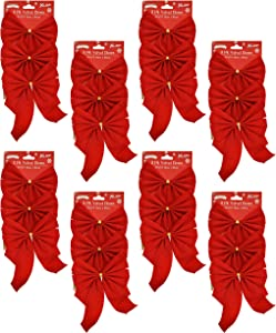 Black Duck Brand Set of 24 Red Velvet Festive Holiday Christmas Bows - Perfect as Tree Ornaments - Tree Filler - Decorative Ornaments - Perfect for Preparing for The Holidays!