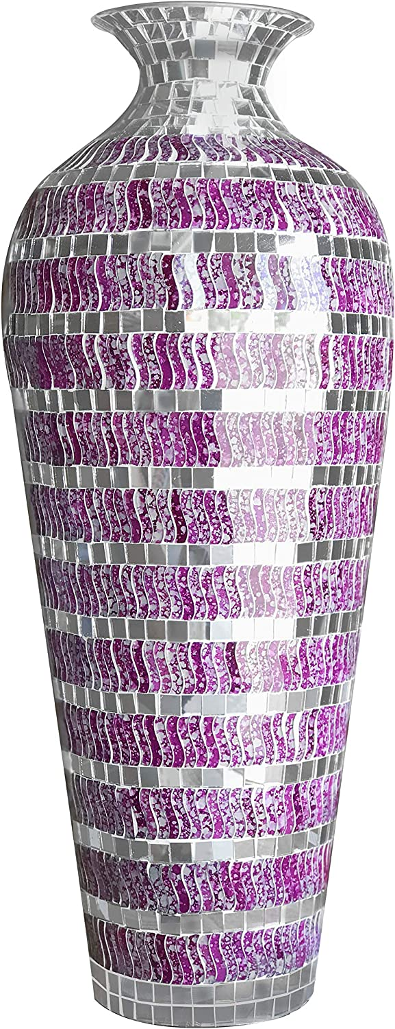 DecorShore Bella Palacio Collection Decorative Mosaic Vase - Tall 20 x 6 in. Home Decor Geometric Pattern Metal Floor Vase with Glass Mosaic in Marbled Magenta Silver Wavy Shape with Silver Accents
