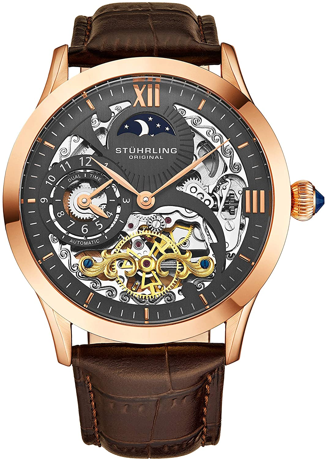 33f80a5f8 Amazon.com: Stuhrling Original Mens Rose Gold Tone Stainless Steel Automatic  Watch, White Skeleton Dial, Rose Gold Accents, Dual Time, AM/PM Sun Moon,  ...