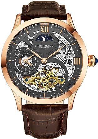 Stührling Original 571.3345K54 - Reloj automático para Hombre, Correa de Cuero, Color marrón: Amazon.es: Relojes