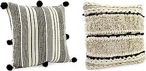AuldHome Boho Farmhouse Throw Pillow Covers, 16 x 16 Black and Off White