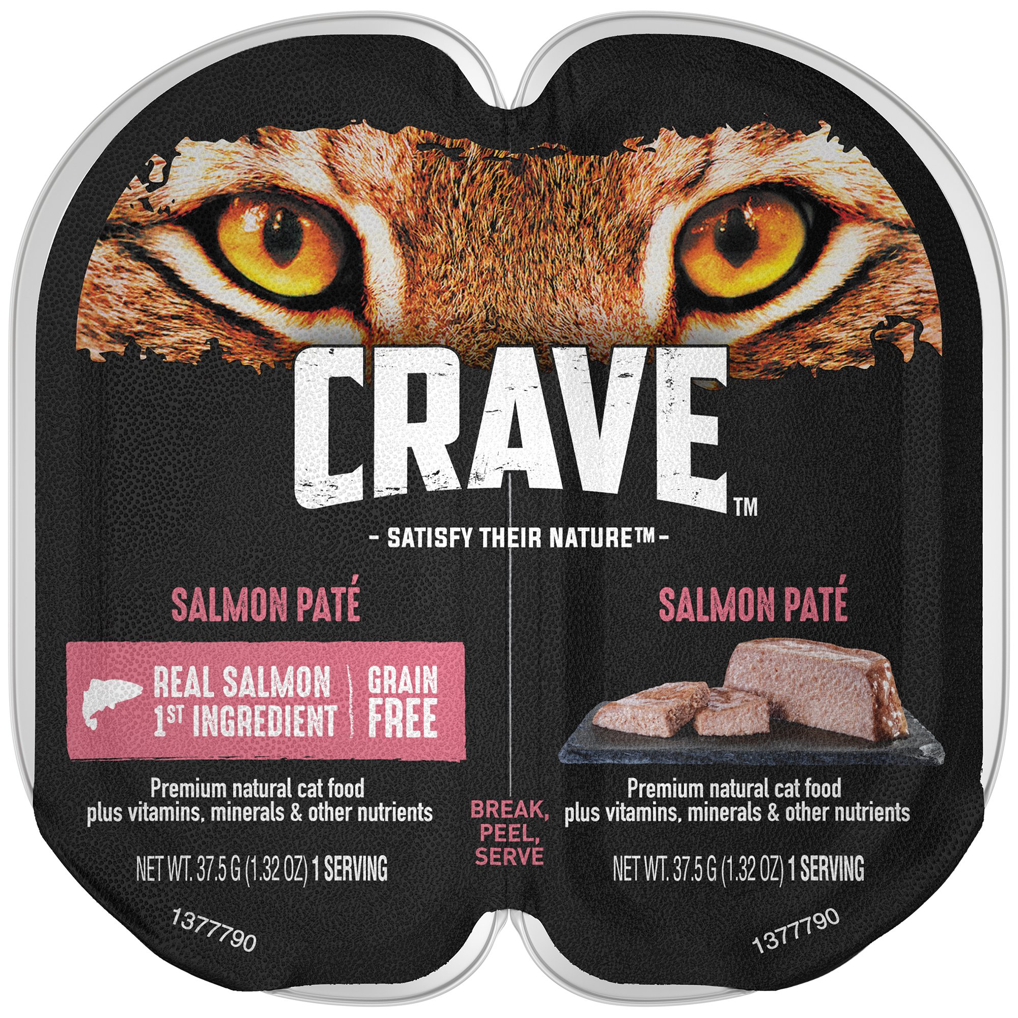 Crave Grain Free Adult High Protein Wet Cat Food Paté Salmon, (24) 2.6 Oz. Twin-Pack Trays by CRAVE