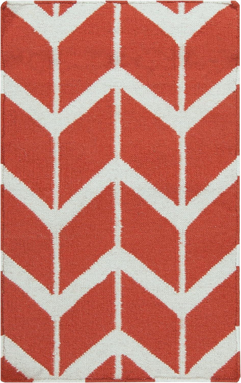 Amazon Com Surya Fallon Jill Rosenwald Chevron Flatweave Area Rug 8 Feet By 11 Feet Poppy Red Winter White Furniture Decor