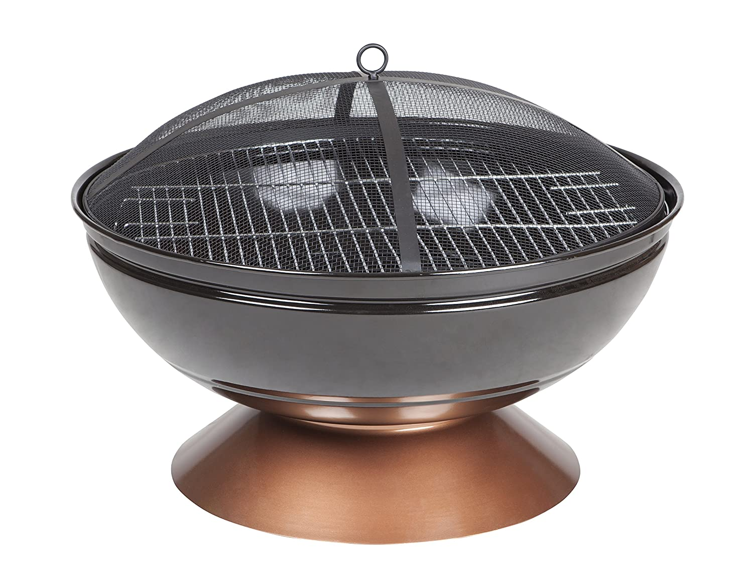 Fire Sense 62242 Degano Round Fire Pit, Black/Copper