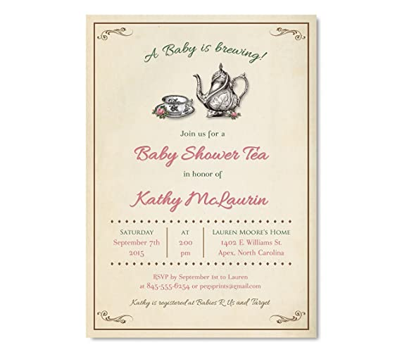 Amazon vintage baby shower tea party invitation vintage baby vintage baby shower tea party invitation vintage baby shower invitations girl vintage tea party filmwisefo