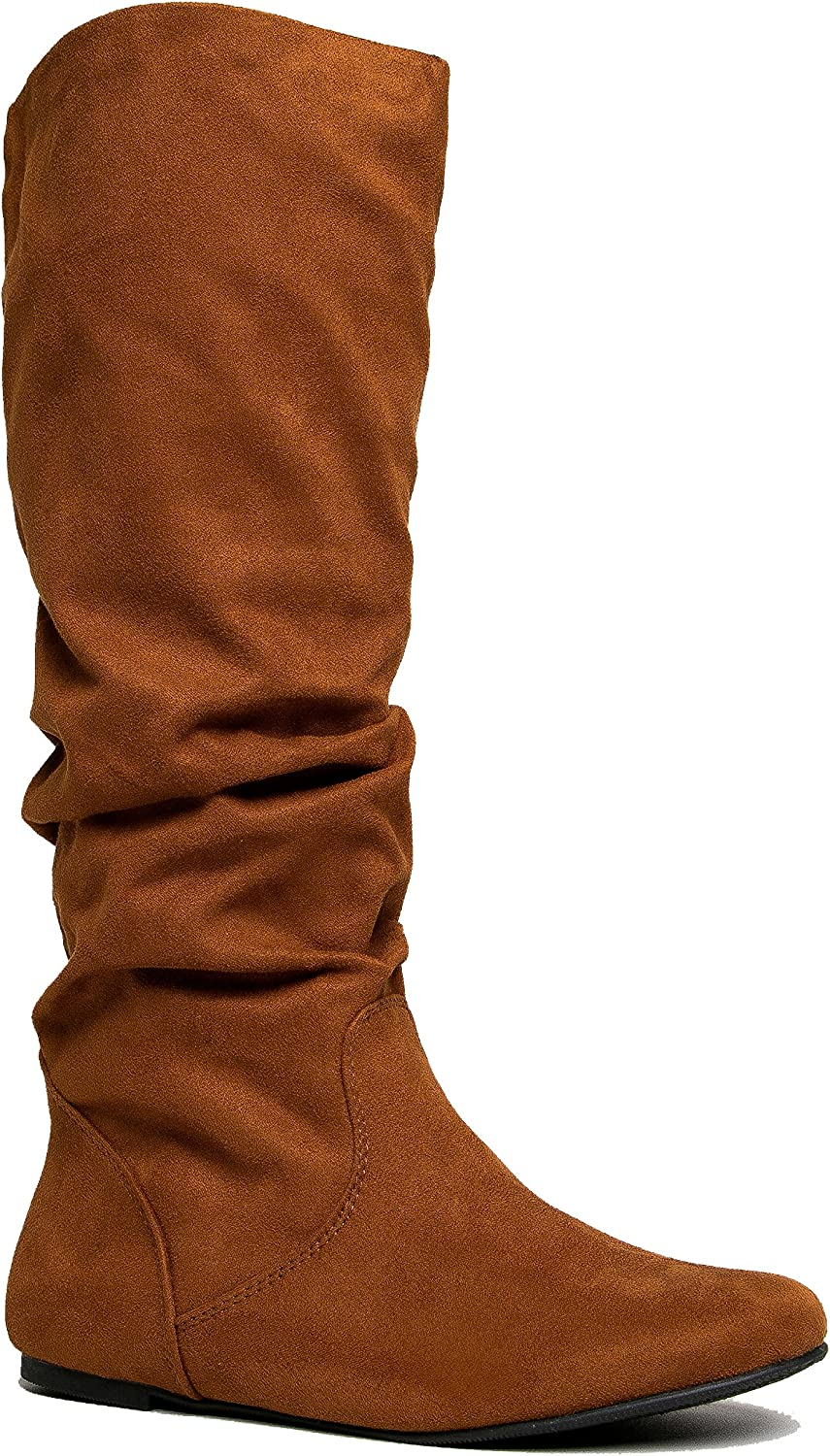 Womens Flat Riding Boot Casual Everyday Walking Shoe Comfortable Vegan Leather Boot ZooShoo Slouchy Knee High Boot