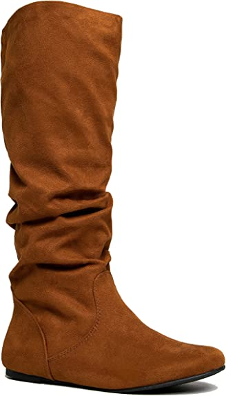 Classic Faux Leather Slouchy Flat Boots