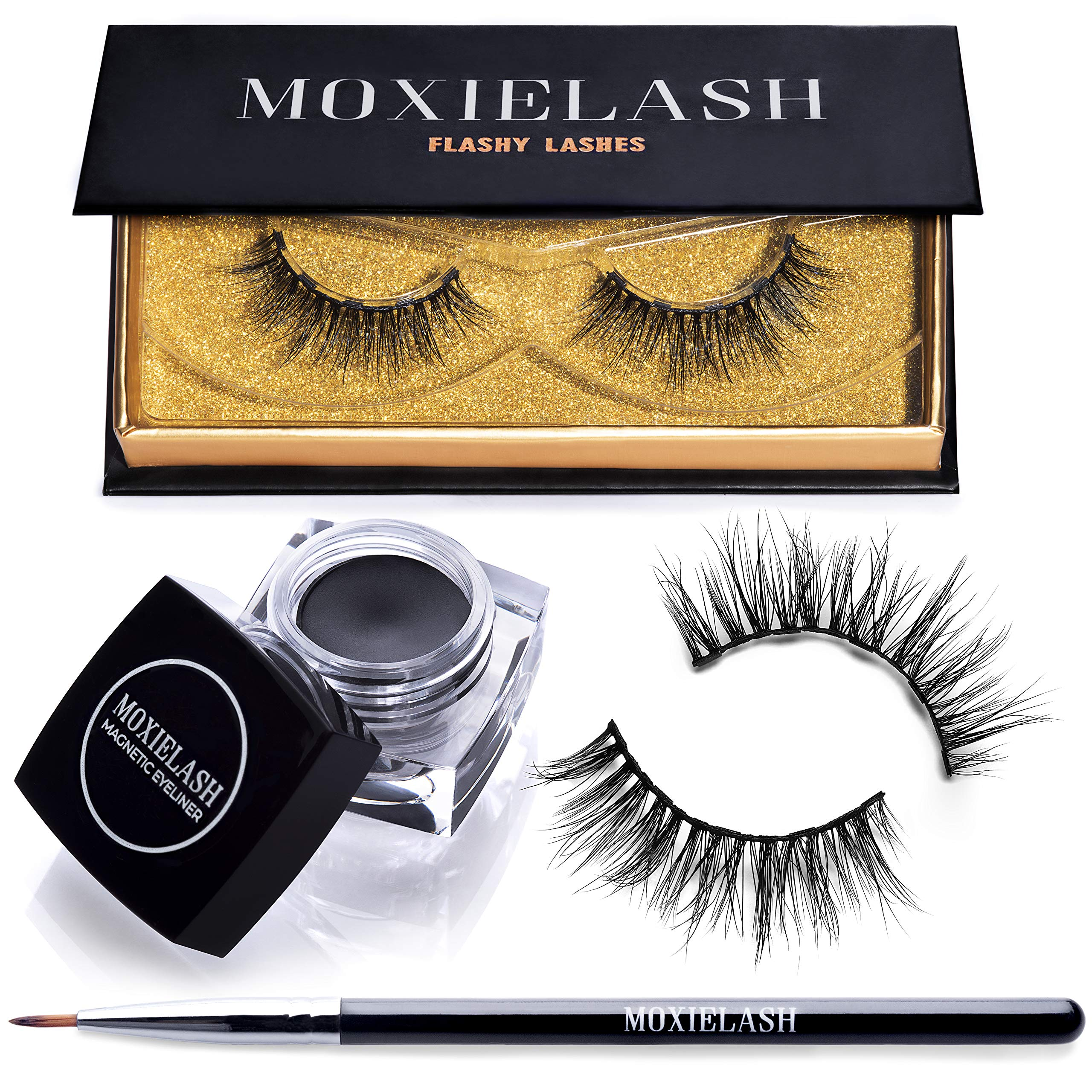 MoxieLash Flashy Bundle - MoxieLash Magnetic Gel Eyeliner for Magnetic Eyelashes - No Glue & Mess Free - Fast & Easy Application - Set of Flashy Lashes & Brush Included