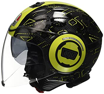 AGV - Casco para moto Fluid E2205 Top - Color Ibiscus gris oscuro/amarillo -