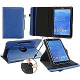 Emartbuy Medion LifeTab P9701 9.7 Zoll Tablet PC Universal ( 9 - 10 Zoll ) Dark Blau PU Leder 360GradRotierendeStandFolioGeldbörseTascheHülle + Blau Eingabestift
