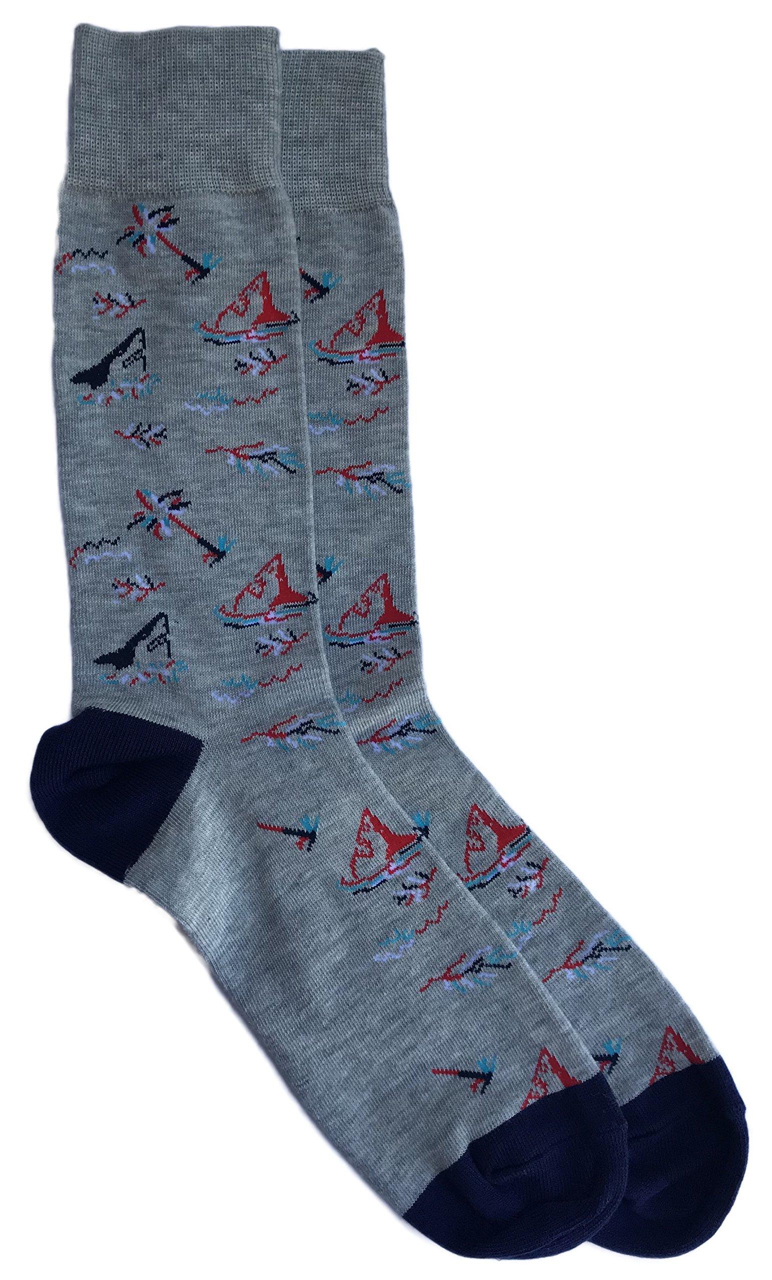Unionbay Shark Themed Men's Novelty Fashion Crew Sock