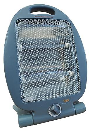 Estufa de cuarzo de suelo con tirador para toma. Rejilla frontal de protección y 2 tubos calefactores. Selector 400/800 W.: Amazon.es: Hogar