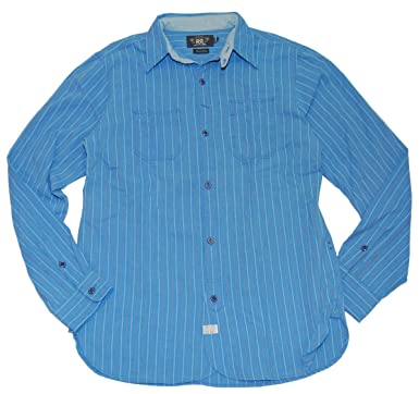 6e5340c5 Ralph Lauren Double RL RRL Mens Polo Vintage Workshirt Twill Shirt Blue  Small