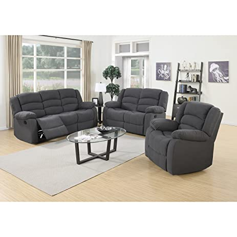 U.S. Pride Furniture Dallas 3 Piece Reclining Sofa Set