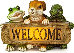 VP Home Backyard Friends Welcome Sign Frog Rabbit Turtle Solar Powered LED Outdoor Decor Garden Light