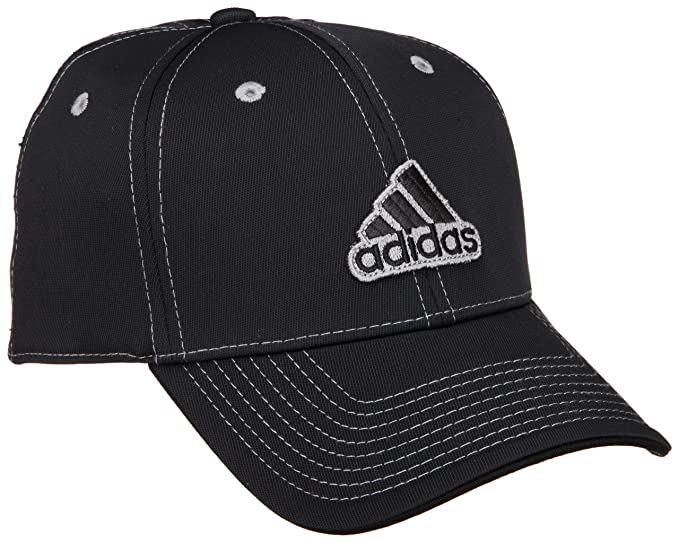 adidas Mens Fielder A-Flex Cap (Black/White/Solid Grey, Small