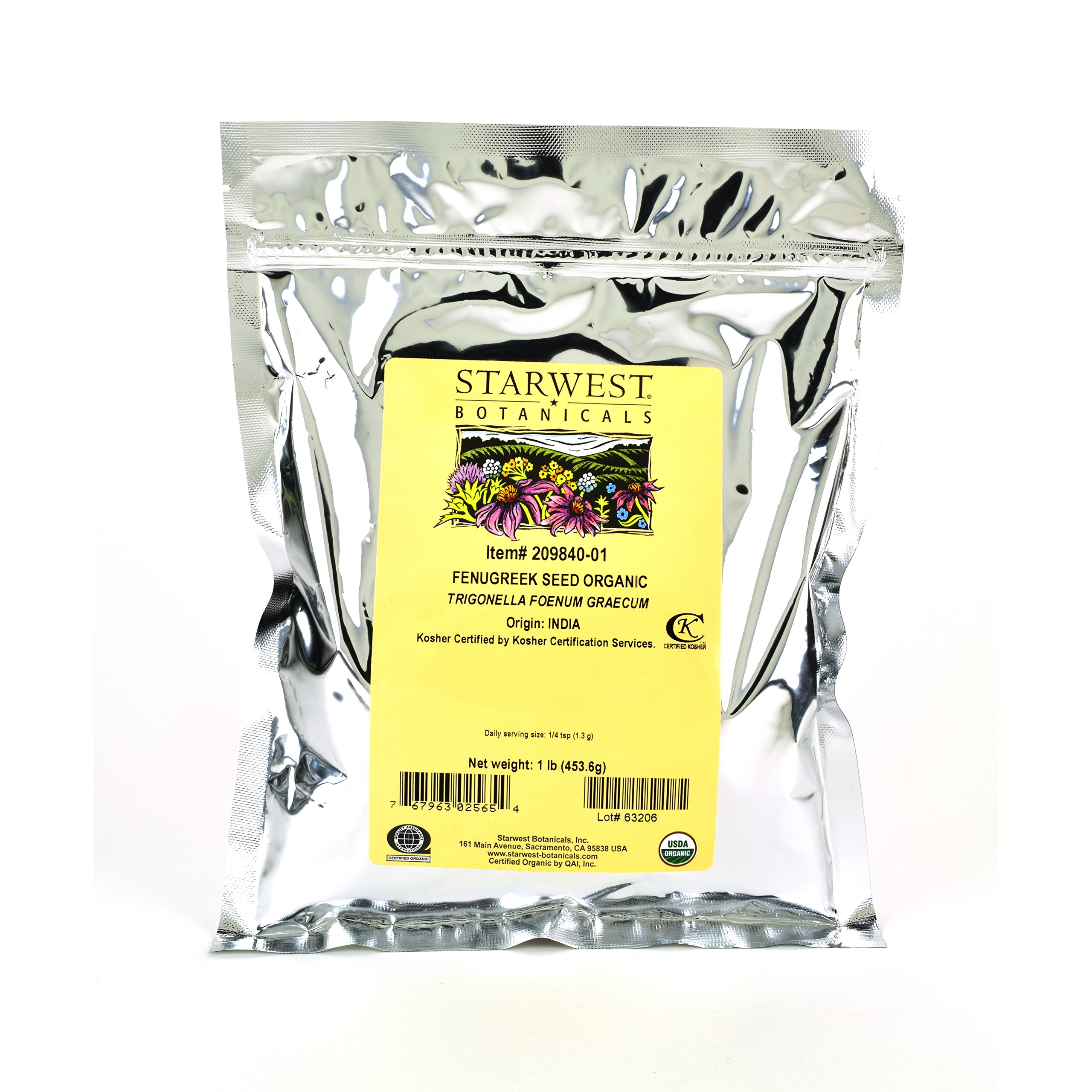 Starwest Botanicals Organic Fenugreek Seed Powder, 1 Pound by Starwest Botanicals