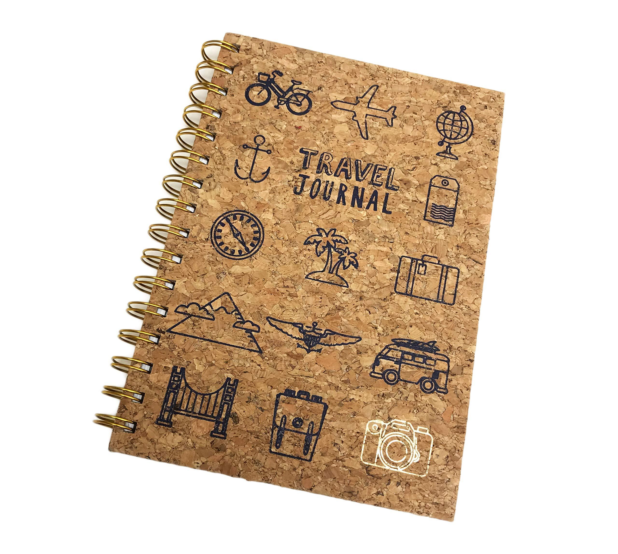 Travel Journal Cork Cover & Spiral Bound Lined Novelty Notebook