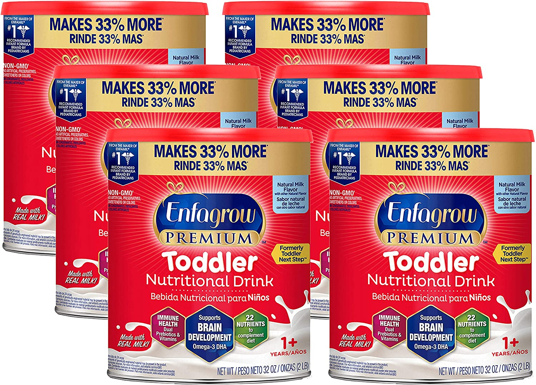 Enfagrow PREMIUM Toddler Nutritional Drink, Natural Milk Flavor, Omega-3 DHA & MGFM for Brain Support, Prebiotics & Vitamins for Immune Health, Non-GMO, Powder Can, 32 Oz (Pack of 6)