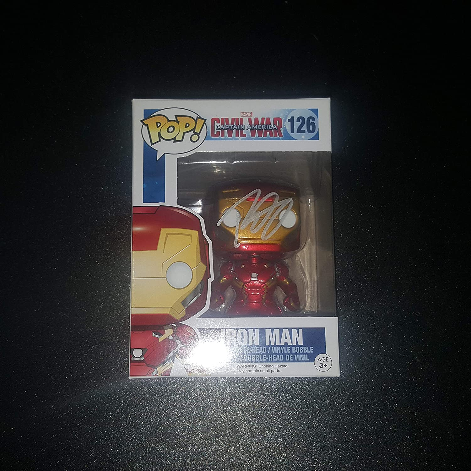 Robert Downey Jr. - Autographed Signed IRON MAN FUNKO POP 126 Vinyl Figure - Captain America Civil War - Marvel AVENGERS