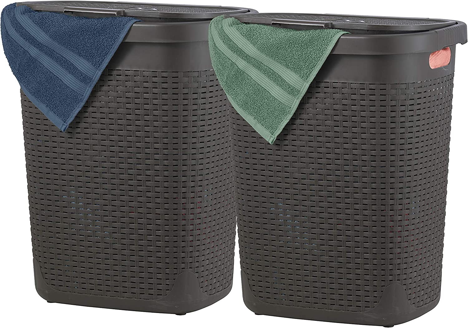 Superio Laundry Hamper with Lid 50 Liter (2 Pack) Plastic Wicker Large Hampers Basket with Cutout Handles, Deluxe Bin to Storage Dirty Cloths in Washroom Bathroom… (Brown)