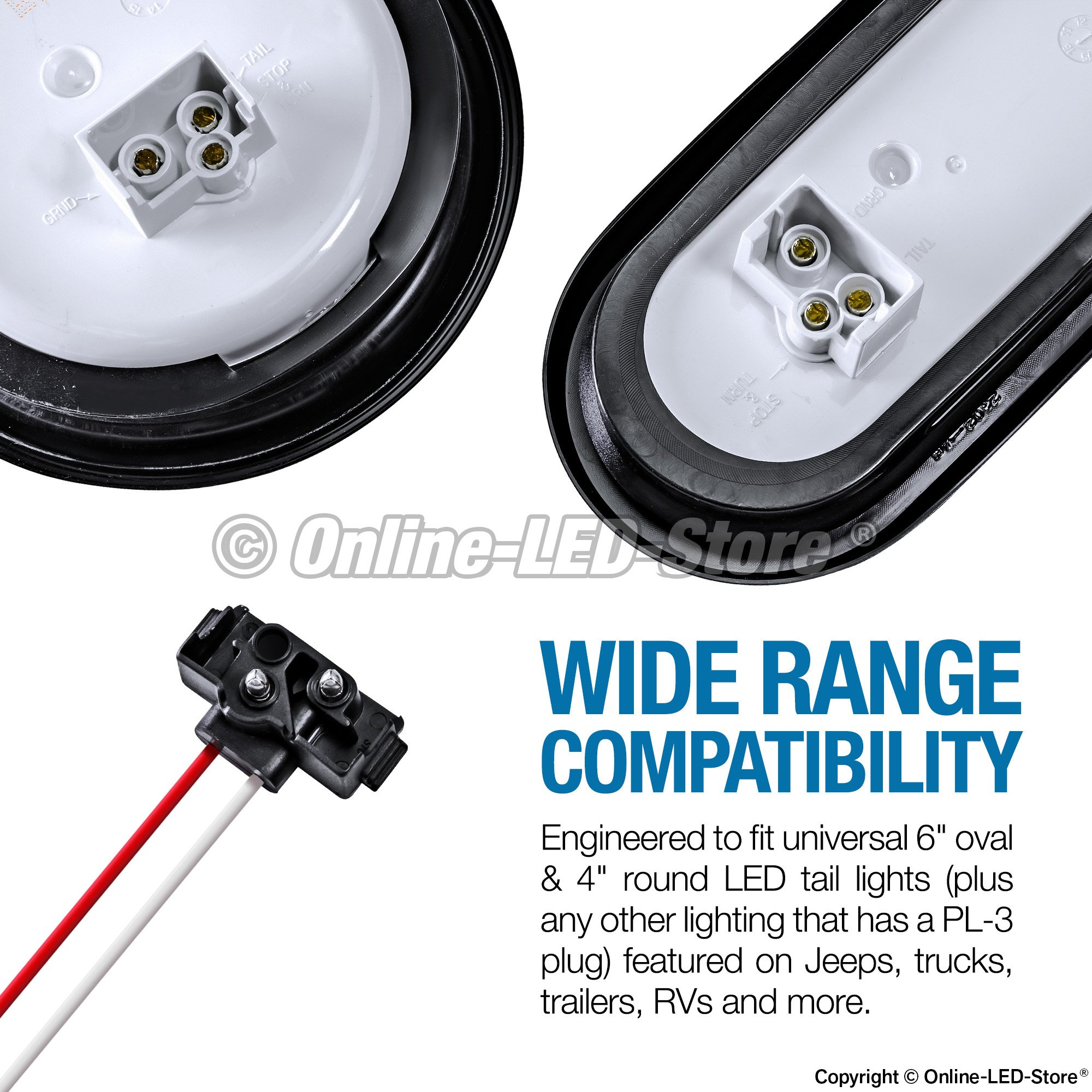 LED Taillight 90 Degree PL-3 2-Pin Plug [Easy Installation] [Fits 4'' Round Taillights] [Fits 6'' Oval Taillights] - Connector for Trailers RV Jeep & Trucks Reverse Back-up Lights by ONLINE LED STORE (Image #4)