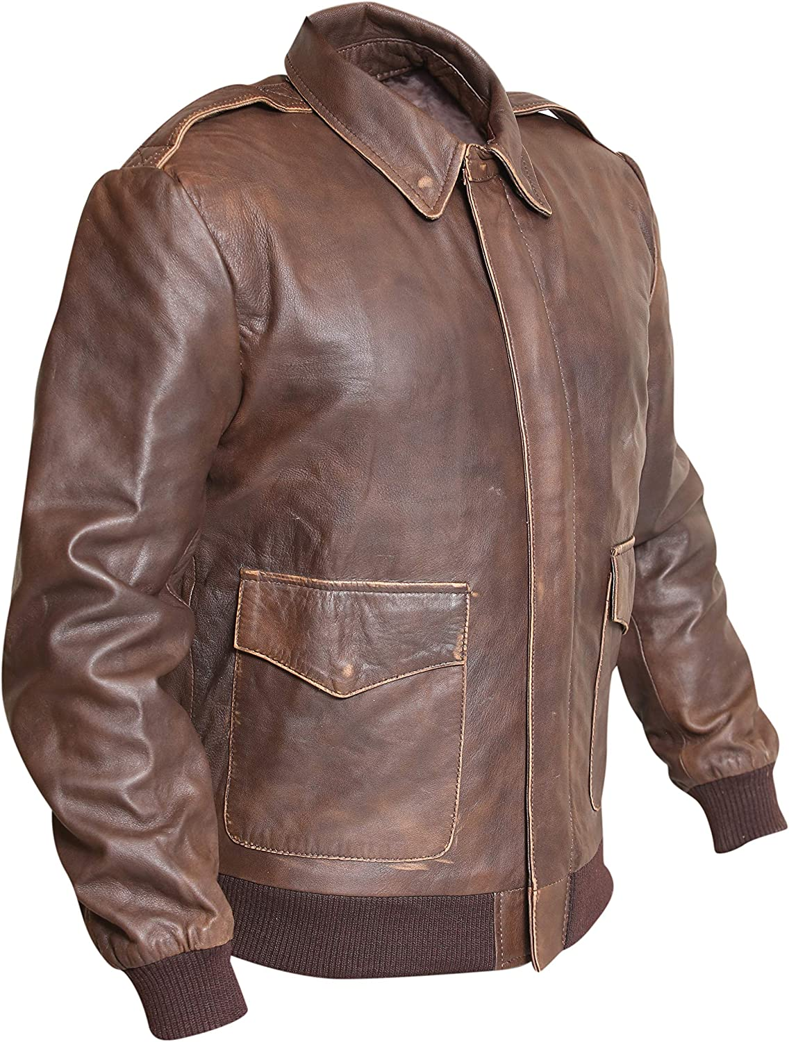 Aviator A2 Distressed Brown Real Leather Bomber Jacket