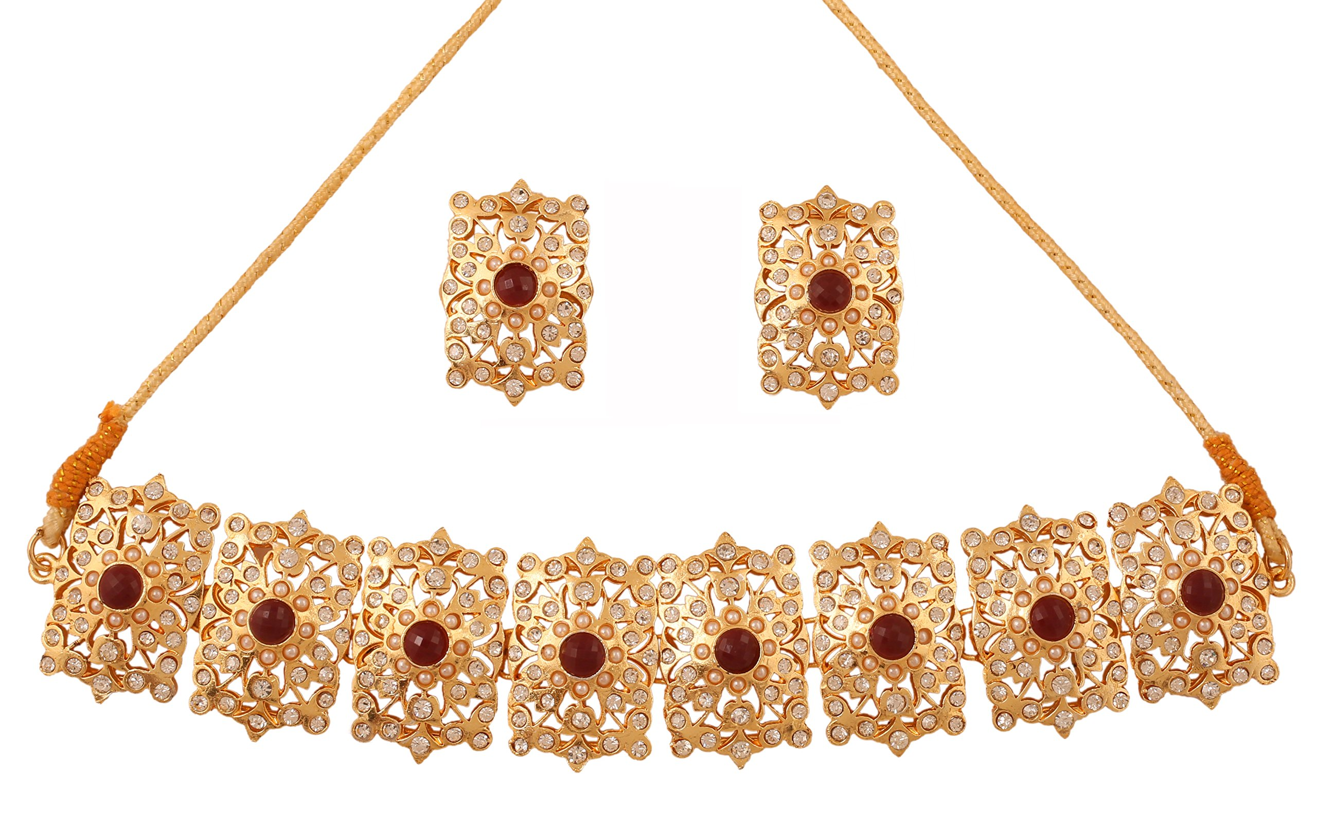 Touchstone Mughal Jali Collection Gold Tone Indian Mughal White Diamante Jewelry Choker Set for Women product image