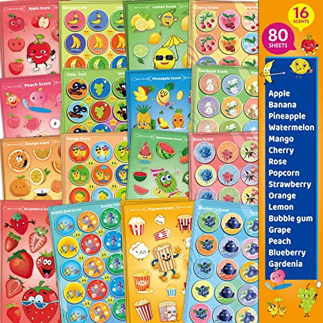 80 Sheets 16 Different Scents Goodie Party Favor Best Choice for Kids /& Teachers /& Parents as Reward Stickers Awesome Smelly Stickers. Gift HORIECHALY Scratch and Sniff Stickers